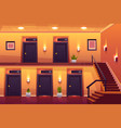 rooms in hotel corridor and stairs on second floor vector image vector image