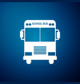 school bus icon isolated on blue background vector image