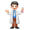 scientist men holding test tube on a white backgro vector image vector image
