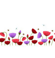 seamless border with romantic flowers elements vector image