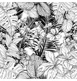 seamless pattern with branches and leaves black vector image vector image