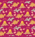 seamless pattern with dinosaurs palms vector image vector image