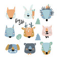 set cute animals heads on white background vector image vector image