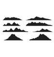 set mountains silhouettes vector image