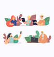 set people with gadgets young characters vector image