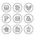 set round line icons motor and engine vector image
