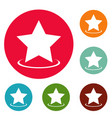 star icons circle set vector image