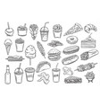 street food icons vector image vector image