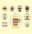 vintage coffeeshop logo text labels and vector image