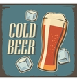 Vintage poster cold beer and ice cube vector image vector image