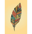 Vintage tribal ethnic hand drawn colorful feather vector image vector image