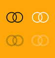 wedding rings black and white set icon vector image