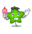 with ice cream green ivy leaf on character cartoon vector image