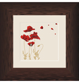 wood frame poppies vector image vector image