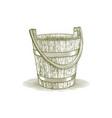 woodcut wooden farm bucket vector image vector image