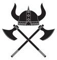 viking axe and shield viking helmet medieval vector image