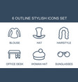 6 stylish icons vector image vector image