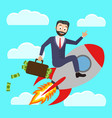 a successful businessman flies a rocket up and vector image