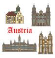 architecture landmarks austria icons vector image vector image