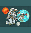 astronaut mother and child on planet earth vector image vector image