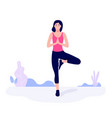 athletic young woman working out stretching vector image