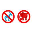 Ban elephant Stop donkey Prohibited Symbols USA vector image vector image