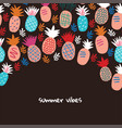 banner with colorful abstract pineapples on black vector image vector image