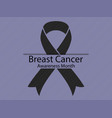 breast cancer awareness month black ribbon on vector image