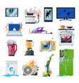 broken appliances home damaged equipment and vector image vector image
