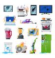broken appliances home damaged equipment vector image vector image
