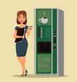 business woman drinking coffee near coffee vector image