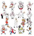 chef baker cook cartoon set vector image vector image