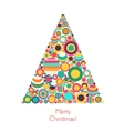 christmas tree with flat geometrical circle vector image