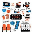 cinema symbols set with ink lettering movie time vector image