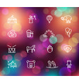 circus icons set in linear style on the colorful vector image vector image