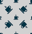 coffee icon sign Seamless pattern with geometric vector image vector image