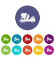 Concrete mixer truck set icons vector image vector image