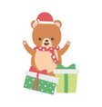 cute bear with gifts scarf and hat merry christmas vector image vector image