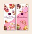 dessert flyer design with macarons cake tart vector image vector image