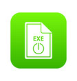 file exe icon digital green vector image vector image