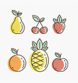 fruit icons detailed vector image vector image