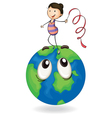 girl playing on earth globe vector image vector image