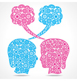Group of gears make a male and female face vector image vector image