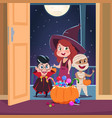 halloween trick or treat background kids in vector image