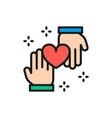 hands with heart donation volunteering good vector image vector image
