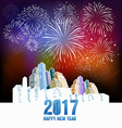 Happy new year fireworks 2017 holiday background vector image