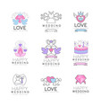 love and wedding set for logo design collection vector image vector image