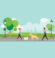 man and woman with dogs in park vector image
