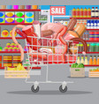 meat products in supermarket cart vector image vector image