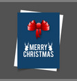 merry christmas reindeer and ribbon banner vector image vector image